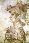 Zeichnung Profil eines Kriegers mit Helm