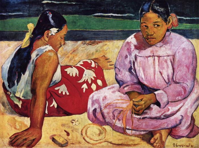 Frauen am Strand (Tahiti)