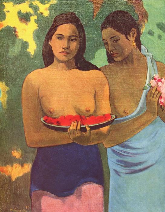 Zwei Mädchen mit Mangoblüten (Tahiti)
